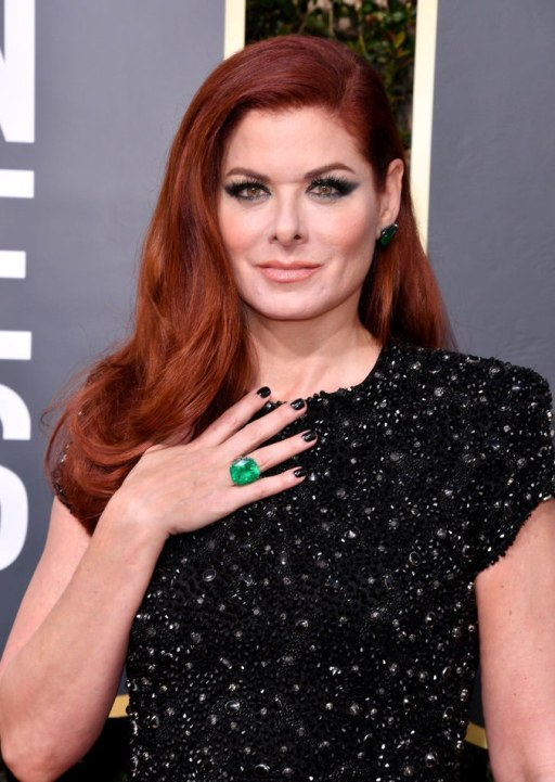 Debra Messing- emerald earrings and an emerald ring