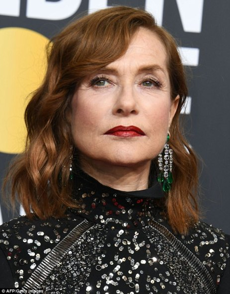 Isabelle Huppert-emerald and diamond earrings