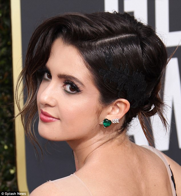Laura Marano- large stud emerald earrings