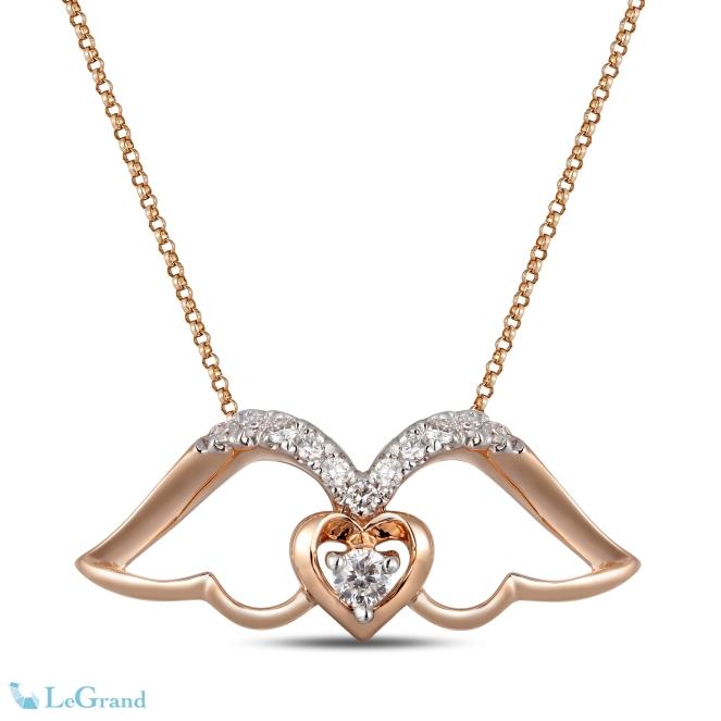 Legrand玫瑰金鑲鑽天使翅膀頸鏈