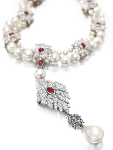 La Peregrina天然珍珠鑽石紅寶項鏈_卡地亞
